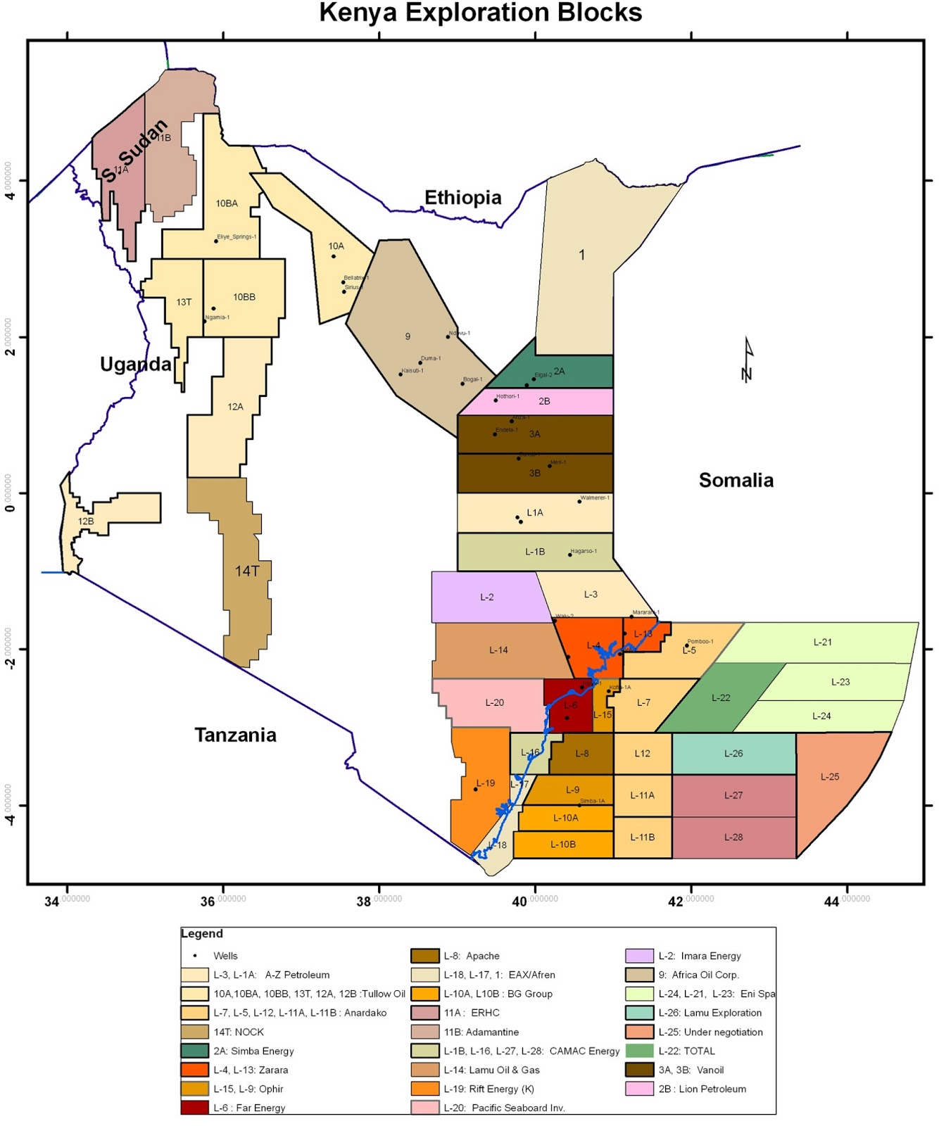 Exploration Block Map of Kenya: Government of Kenya Revised Edition 2006  (courtesy of national oil)